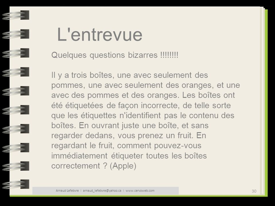 30 Arnaud Lefebvre l arnaud_lefebvre@yahoo.ca l www.cervoweb.com L'entrevue Quelques questions bizarres !!!!!!!! Il y a trois boîtes, une avec seuleme