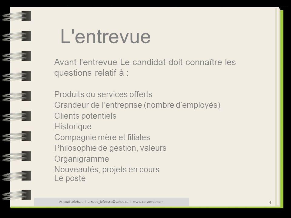 5 Arnaud Lefebvre l arnaud_lefebvre@yahoo.ca l www.cervoweb.com L entrevue Une entrevue ca se prépare : 1 - Prêtez attention à votre communication non verbale 2 - Habillez-vous en fonction du poste ou de lentreprise 3 - Écoutez 4 - Ne parlez pas trop 5 - Ne soyez pas trop familier