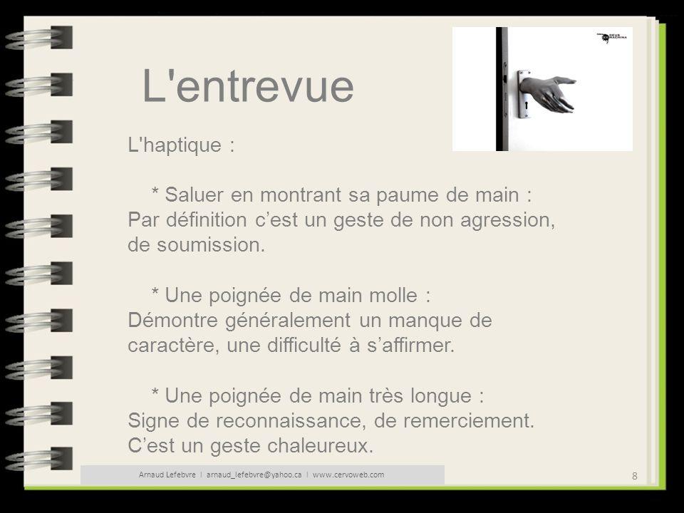 8 Arnaud Lefebvre l arnaud_lefebvre@yahoo.ca l www.cervoweb.com L'entrevue L'haptique : * Saluer en montrant sa paume de main : Par définition cest un
