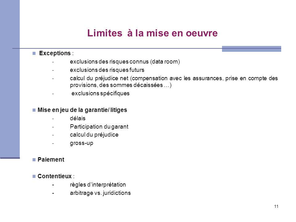 11 Limites à la mise en oeuvre Exceptions : - exclusions des risques connus (data room) - exclusions des risques futurs - calcul du préjudice net (com