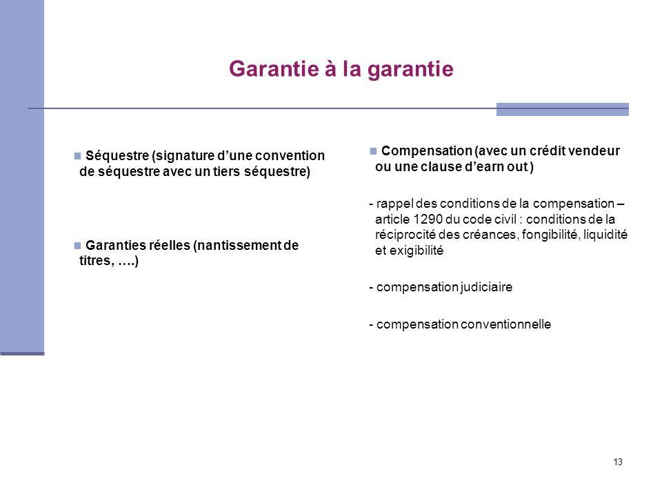 13 Garantie à la garantie Séquestre (signature dune convention de séquestre avec un tiers séquestre) Garanties réelles (nantissement de titres, ….) Co