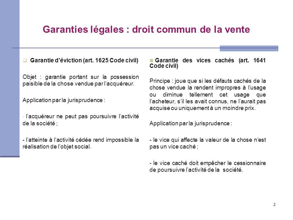 2 Garanties légales : droit commun de la vente Garantie déviction (art. 1625 Code civil) Objet : garantie portant sur la possession paisible de la cho
