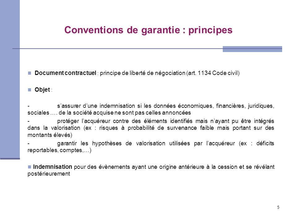 5 Conventions de garantie : principes Document contractuel : principe de liberté de négociation (art. 1134 Code civil) Objet : -sassurer dune indemnis