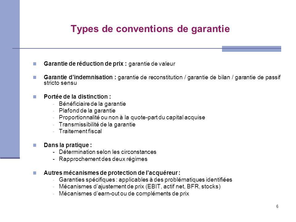 6 Types de conventions de garantie Garantie de réduction de prix : garantie de valeur Garantie dindemnisation : garantie de reconstitution / garantie