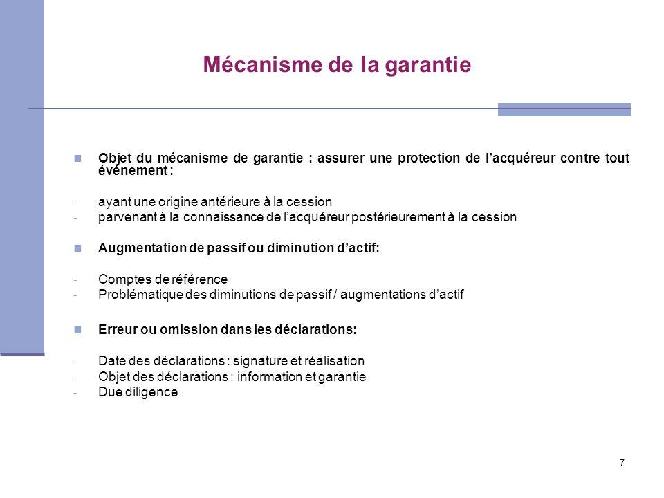 7 Mécanisme de la garantie Objet du mécanisme de garantie : assurer une protection de lacquéreur contre tout événement : - ayant une origine antérieur