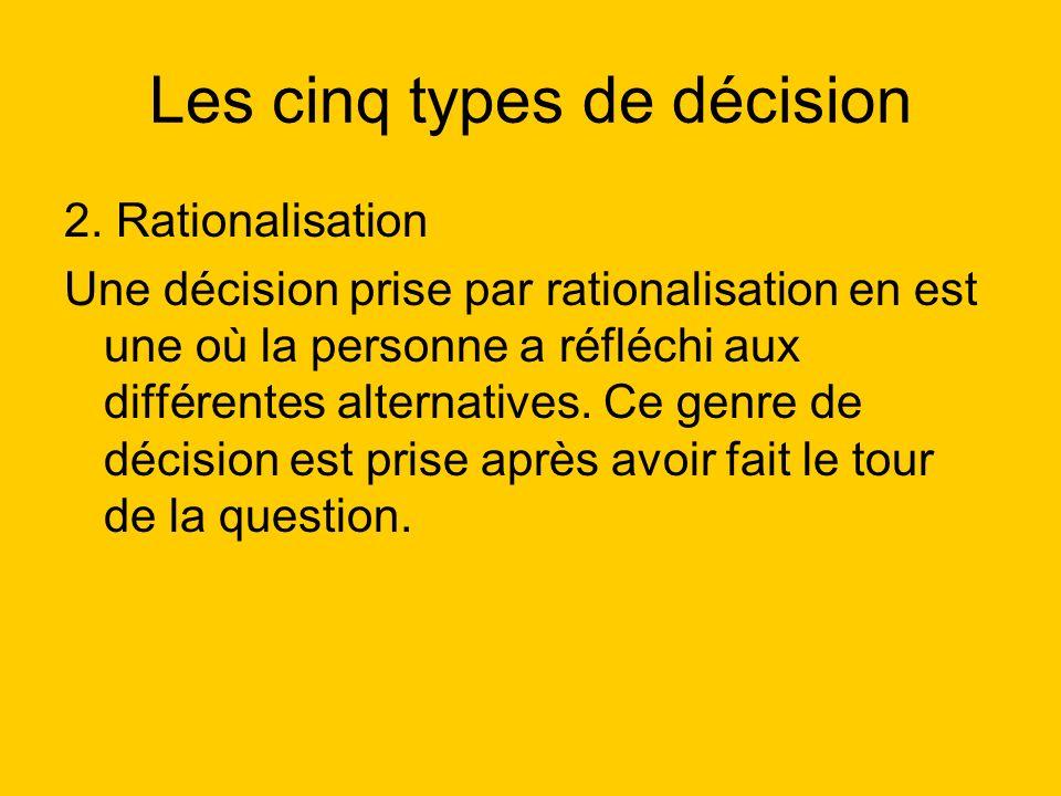Les cinq types de décision 2. Rationalisation Une décision prise par rationalisation en est une où la personne a réfléchi aux différentes alternatives