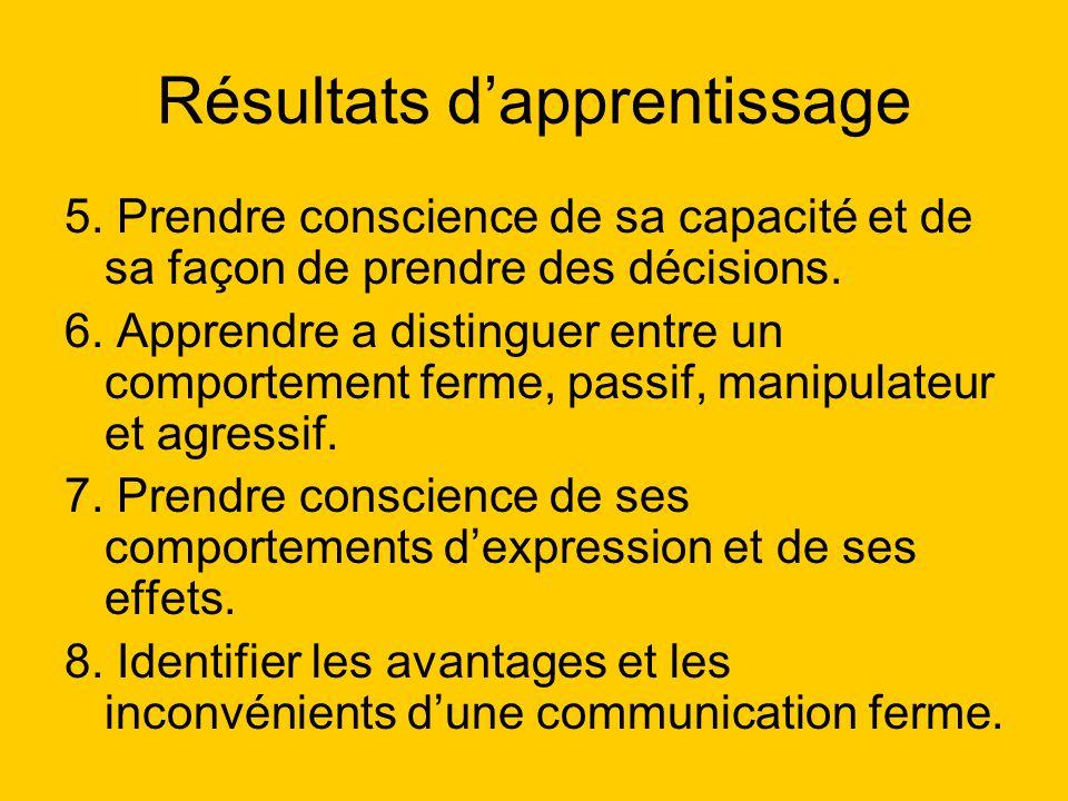 Résultats dapprentissage 5. Prendre conscience de sa capacité et de sa façon de prendre des décisions. 6. Apprendre a distinguer entre un comportement