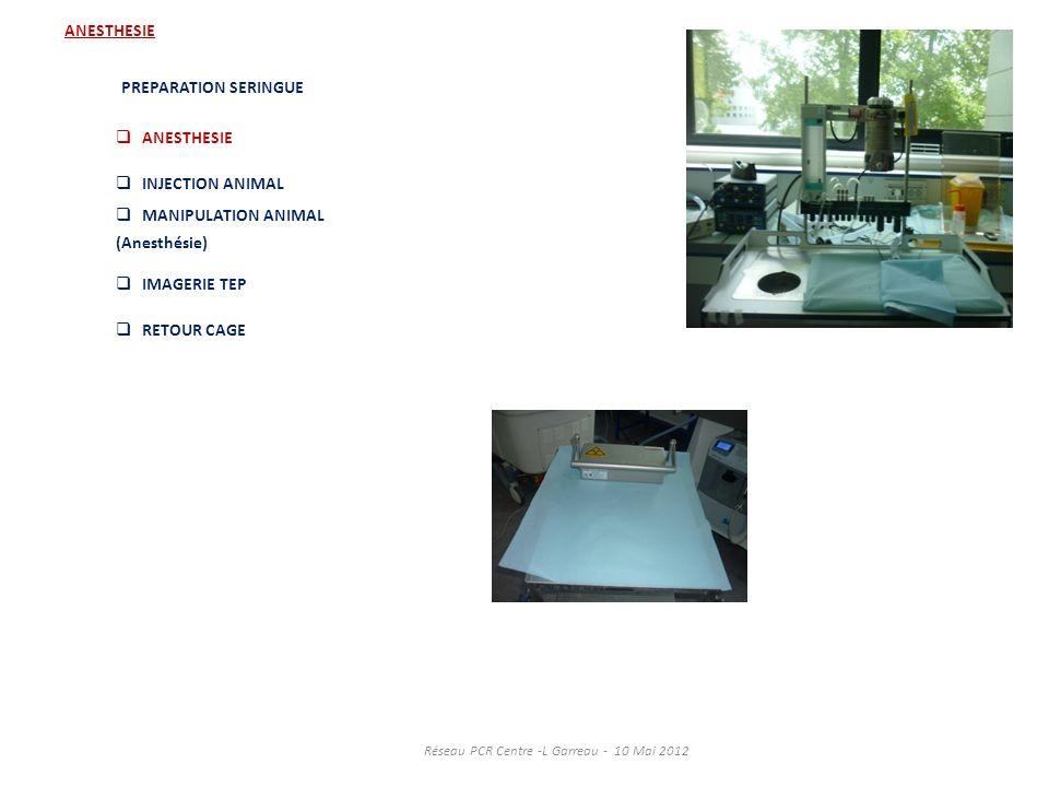ANESTHESIE PREPARATION SERINGUE ANESTHESIE INJECTION ANIMAL MANIPULATION ANIMAL (Anesthésie) IMAGERIE TEP RETOUR CAGE Réseau PCR Centre -L Garreau - 1