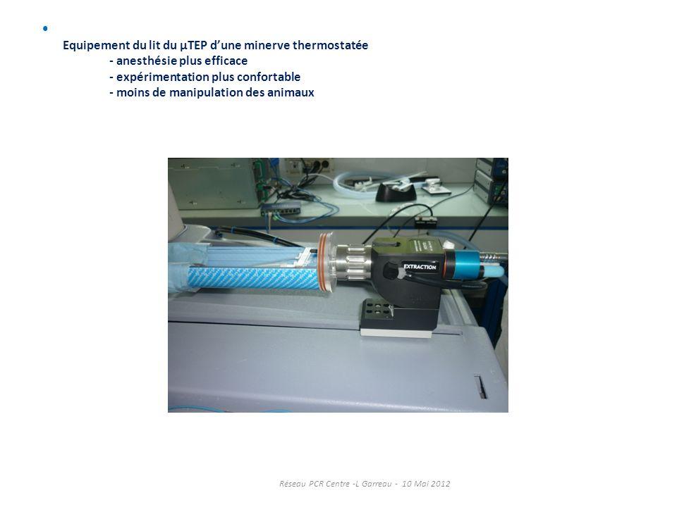 Equipement du lit du µTEP dune minerve thermostatée - anesthésie plus efficace - expérimentation plus confortable - moins de manipulation des animaux