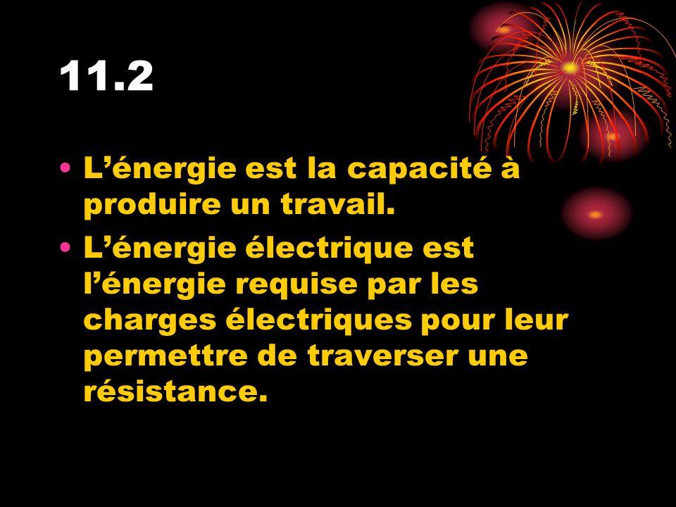 11.2 Lénergie est la capacité à produire un travail. Lénergie électrique est lénergie requise par les charges électriques pour leur permettre de trave