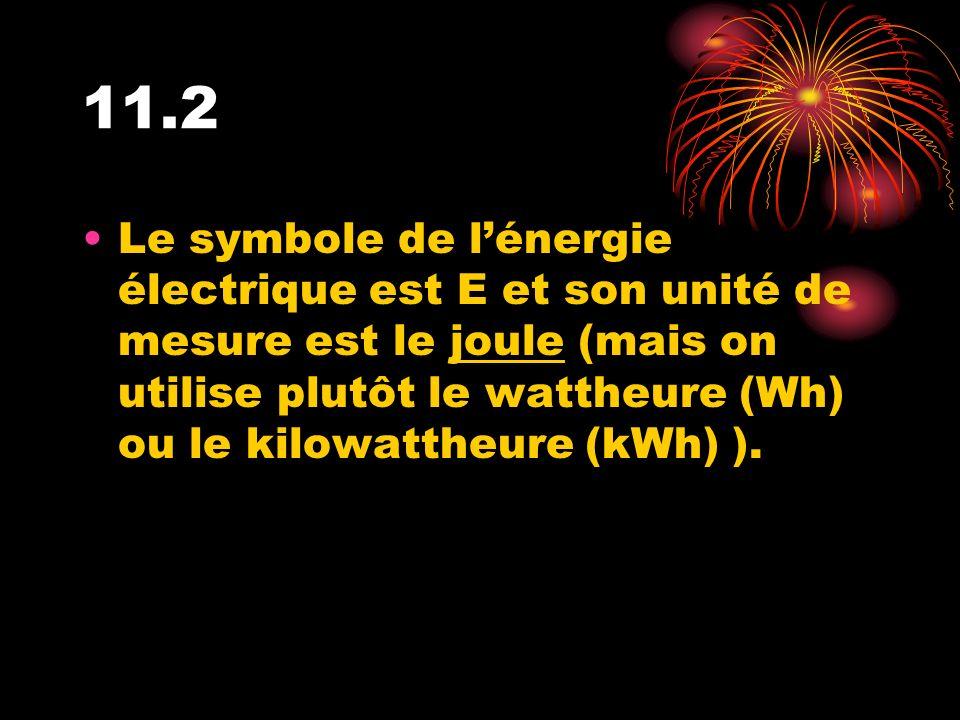 11.2 Le symbole de lénergie électrique est E et son unité de mesure est le joule (mais on utilise plutôt le wattheure (Wh) ou le kilowattheure (kWh) )