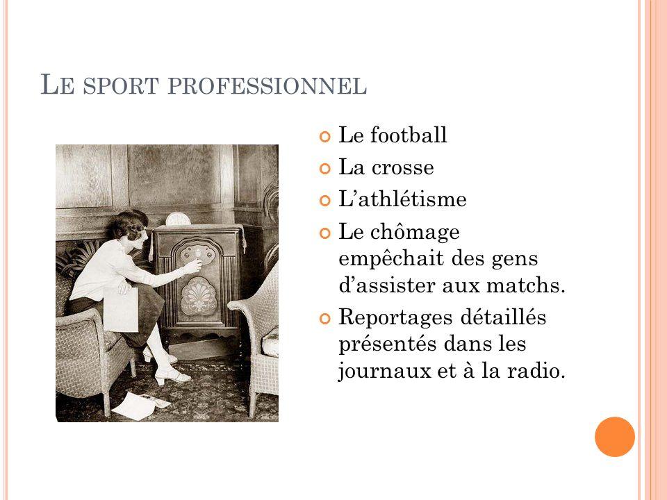 L E SPORT PROFESSIONNEL Le football La crosse Lathlétisme Le chômage empêchait des gens dassister aux matchs. Reportages détaillés présentés dans les