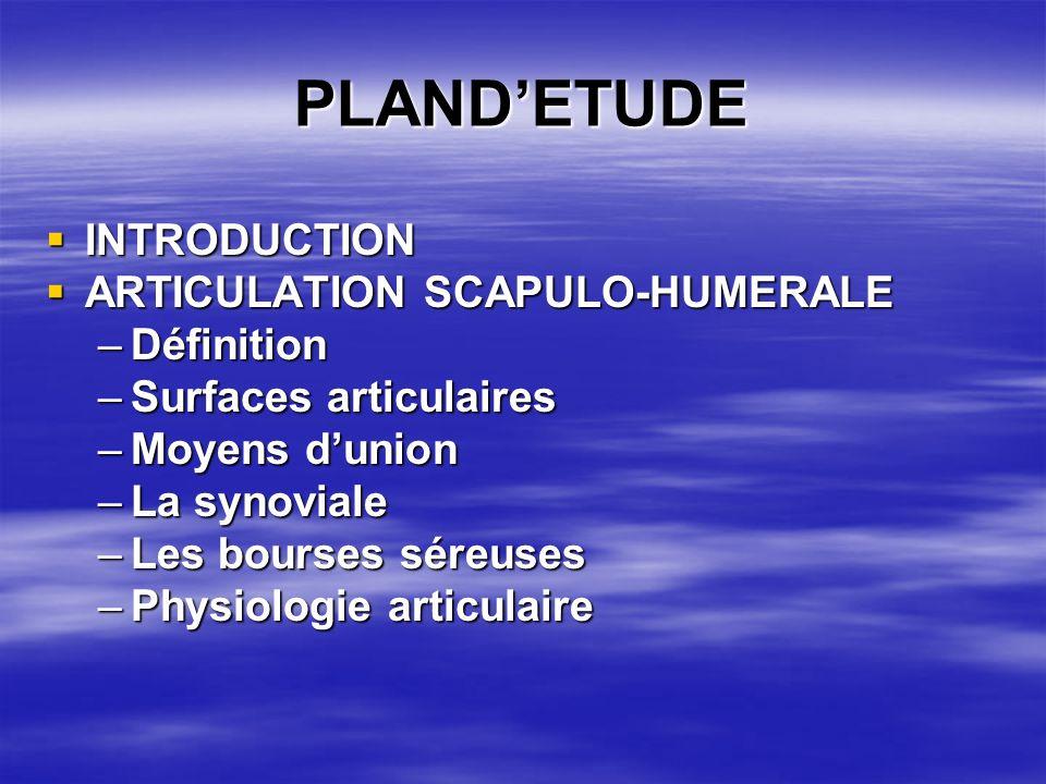 PLANDETUDE INTRODUCTION INTRODUCTION ARTICULATION SCAPULO-HUMERALE ARTICULATION SCAPULO-HUMERALE –Définition –Surfaces articulaires –Moyens dunion –La