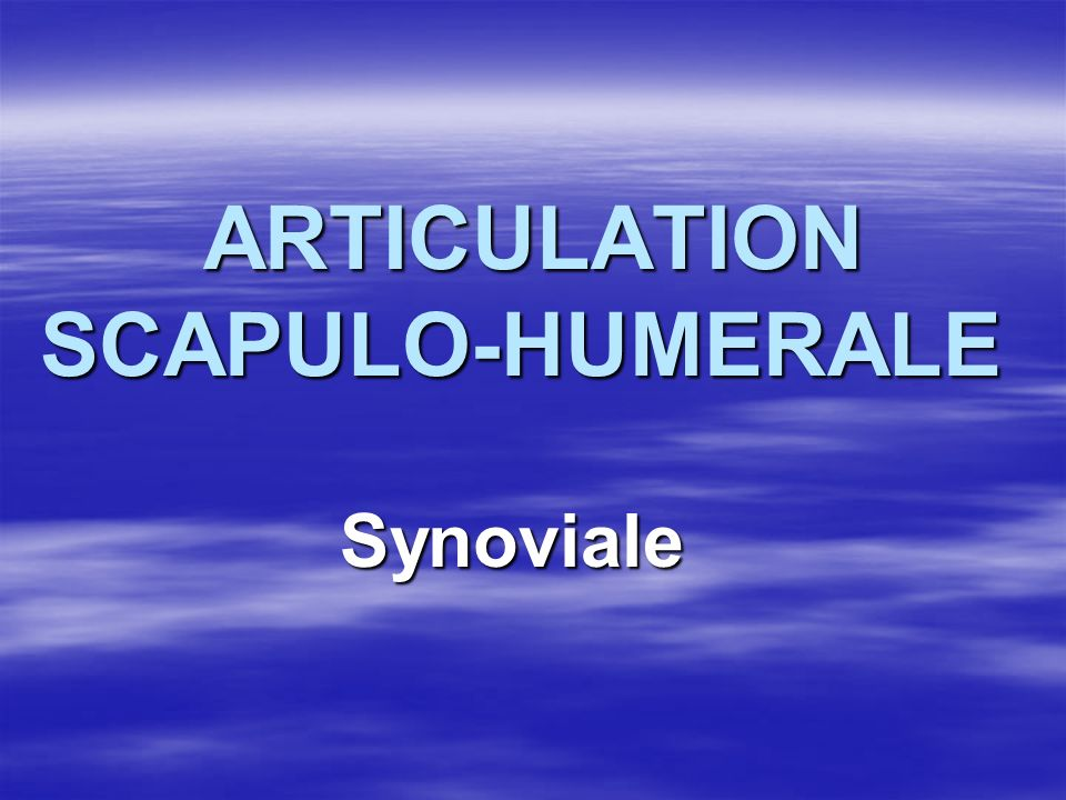 ARTICULATION SCAPULO-HUMERALE ARTICULATION SCAPULO-HUMERALE Synoviale Synoviale