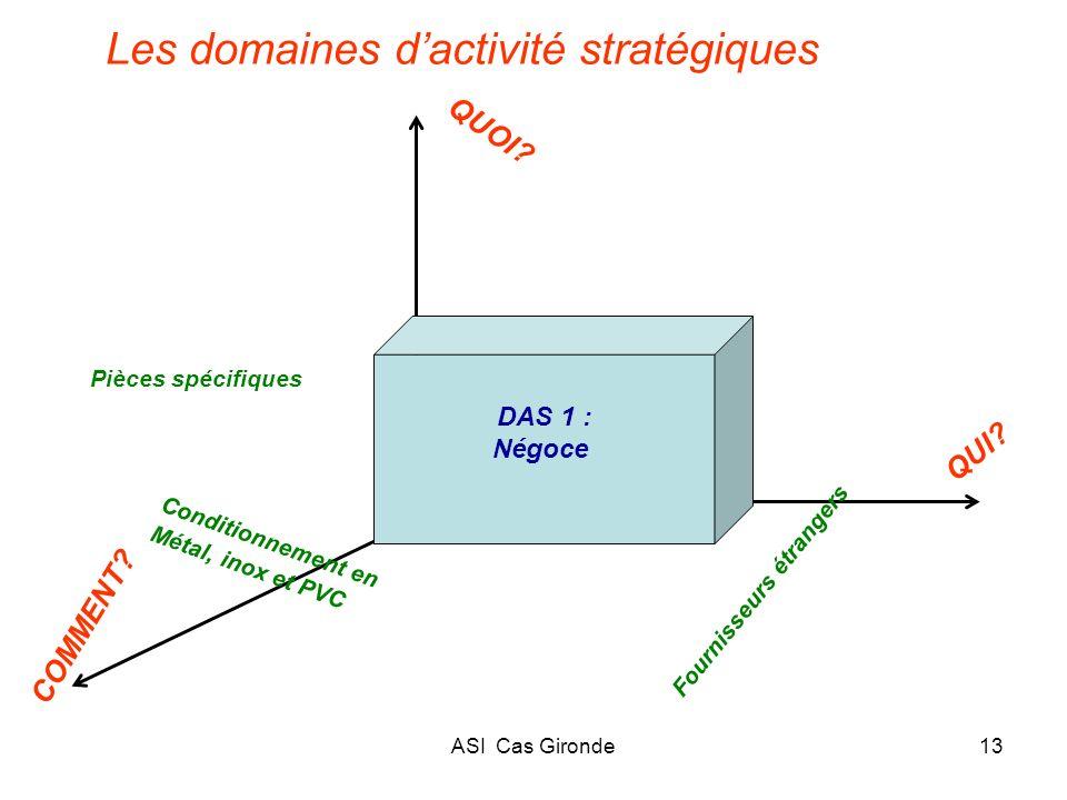 ASI Cas Gironde13 Les domaines dactivité stratégiques Fournisseurs étrangers COMMENT? QUOI? QUI? Conditionnement en Métal, inox et PVC DAS 1 : Négoce