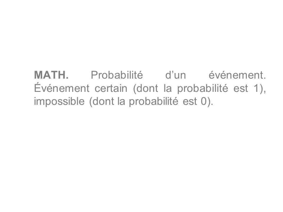 MATH. Probabilité dun événement. Événement certain (dont la probabilité est 1), impossible (dont la probabilité est 0).