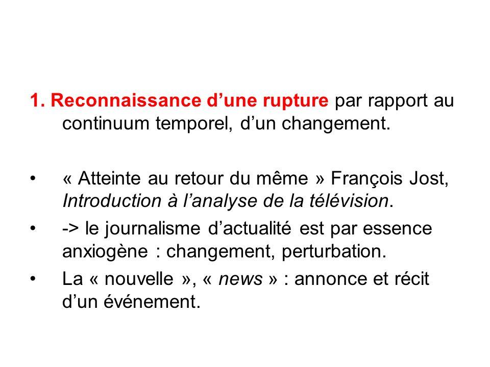 1. Reconnaissance dune rupture par rapport au continuum temporel, dun changement. « Atteinte au retour du même » François Jost, Introduction à lanalys