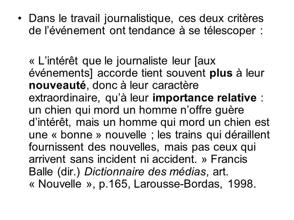 Dans le travail journalistique, ces deux critères de lévénement ont tendance à se télescoper : « Lintérêt que le journaliste leur [aux événements] acc
