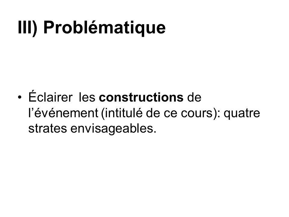 III) Problématique Éclairer les constructions de lévénement (intitulé de ce cours): quatre strates envisageables.