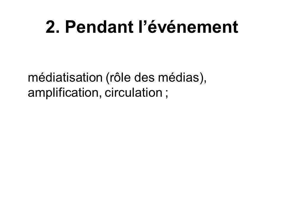 2. Pendant lévénement médiatisation (rôle des médias), amplification, circulation ;
