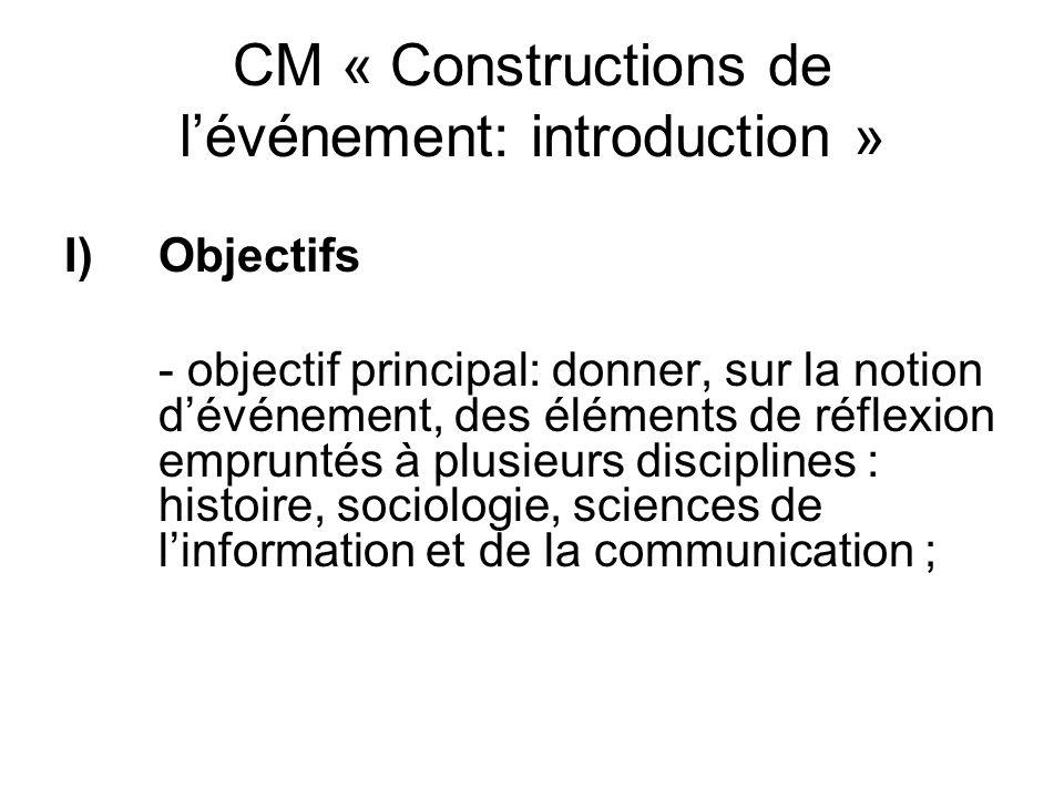 CM « Constructions de lévénement: introduction » I)Objectifs - objectif principal: donner, sur la notion dévénement, des éléments de réflexion emprunt