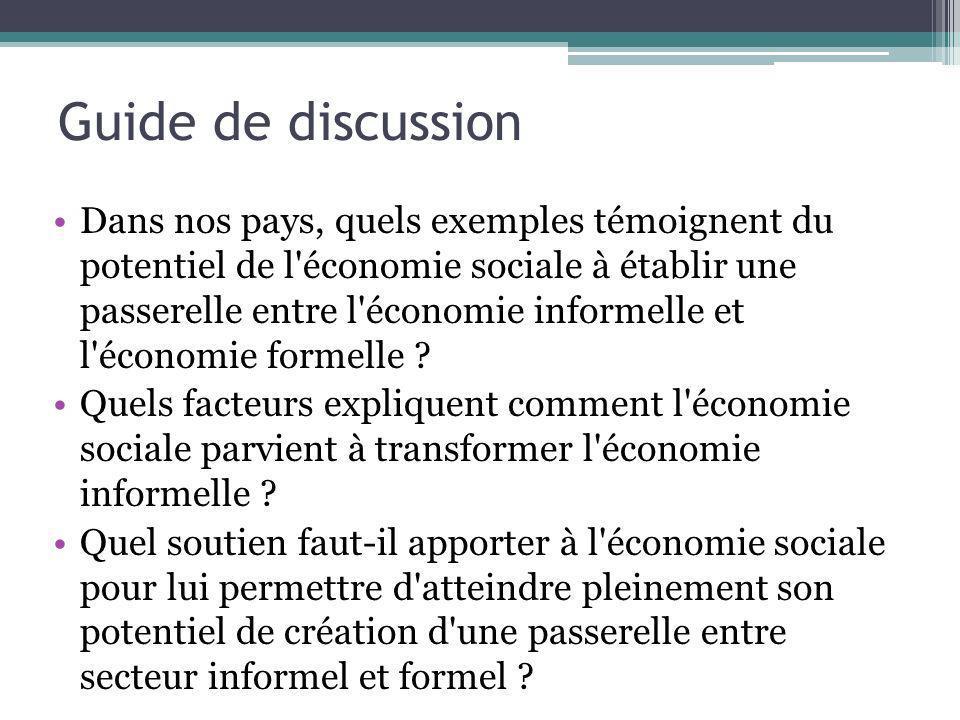 Guide de discussion Dans nos pays, quels exemples témoignent du potentiel de l'économie sociale à établir une passerelle entre l'économie informelle e