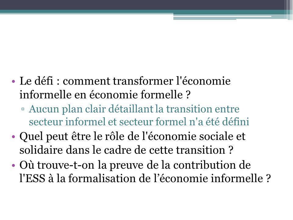 Le défi : comment transformer l'économie informelle en économie formelle ? Aucun plan clair détaillant la transition entre secteur informel et secteur