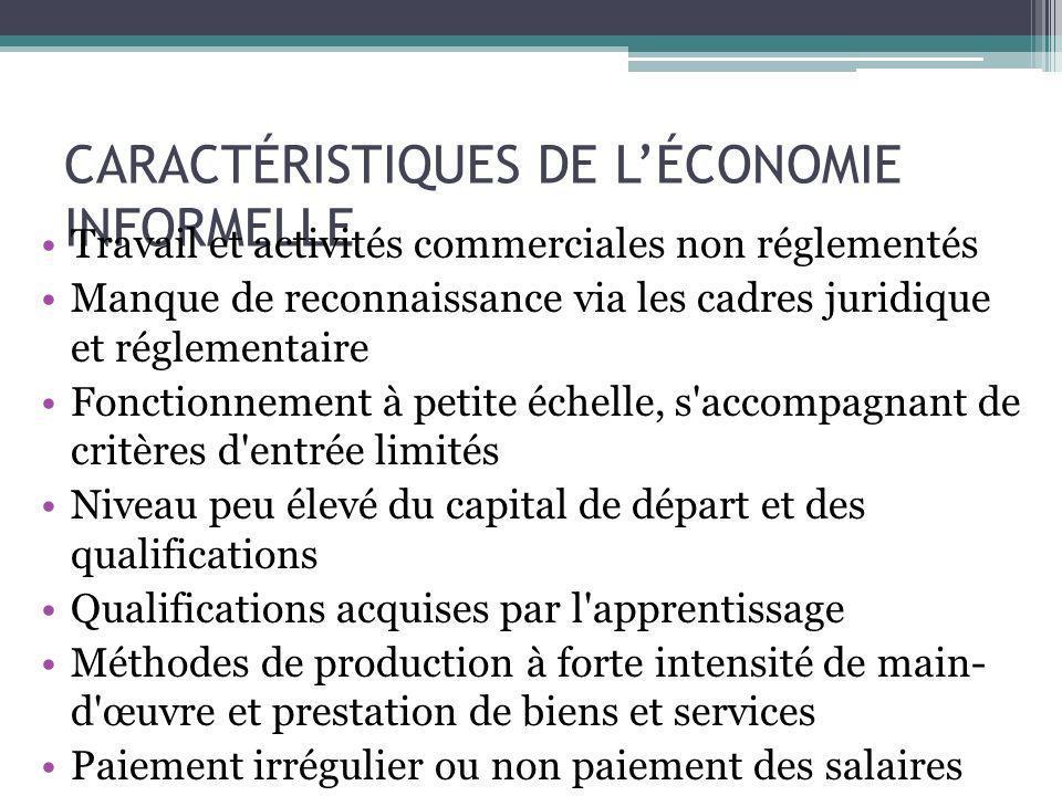CARACTÉRISTIQUES DE LÉCONOMIE INFORMELLE Travail et activités commerciales non réglementés Manque de reconnaissance via les cadres juridique et réglem