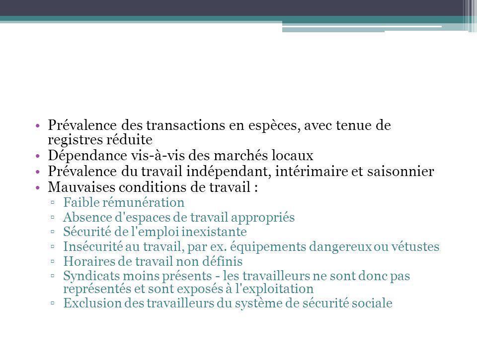 Prévalence des transactions en espèces, avec tenue de registres réduite Dépendance vis-à-vis des marchés locaux Prévalence du travail indépendant, int
