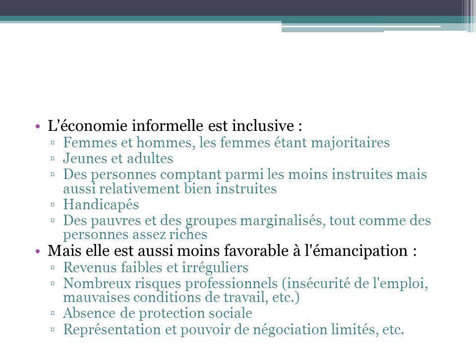 L'économie informelle est inclusive : Femmes et hommes, les femmes étant majoritaires Jeunes et adultes Des personnes comptant parmi les moins instrui