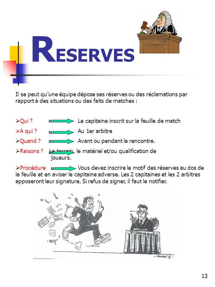 13 R ESERVES Il se peut quune équipe dépose ses réserves ou des réclamations par rapport à des situations ou des faits de matches : Qui .