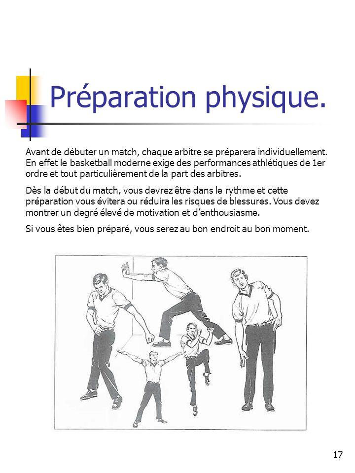 17 Préparation physique. Avant de débuter un match, chaque arbitre se préparera individuellement. En effet le basketball moderne exige des performance