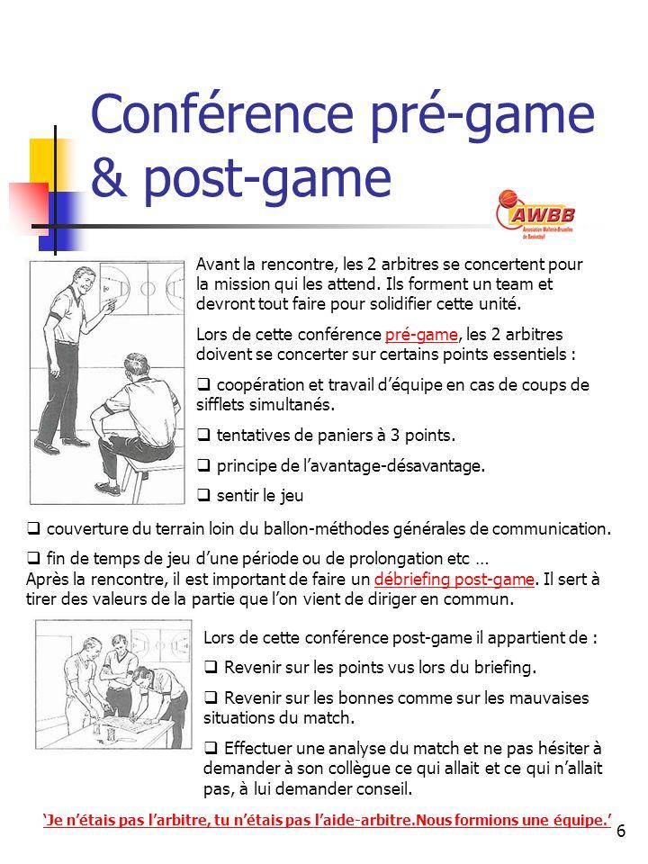 6 Conférence pré-game & post-game Avant la rencontre, les 2 arbitres se concertent pour la mission qui les attend. Ils forment un team et devront tout