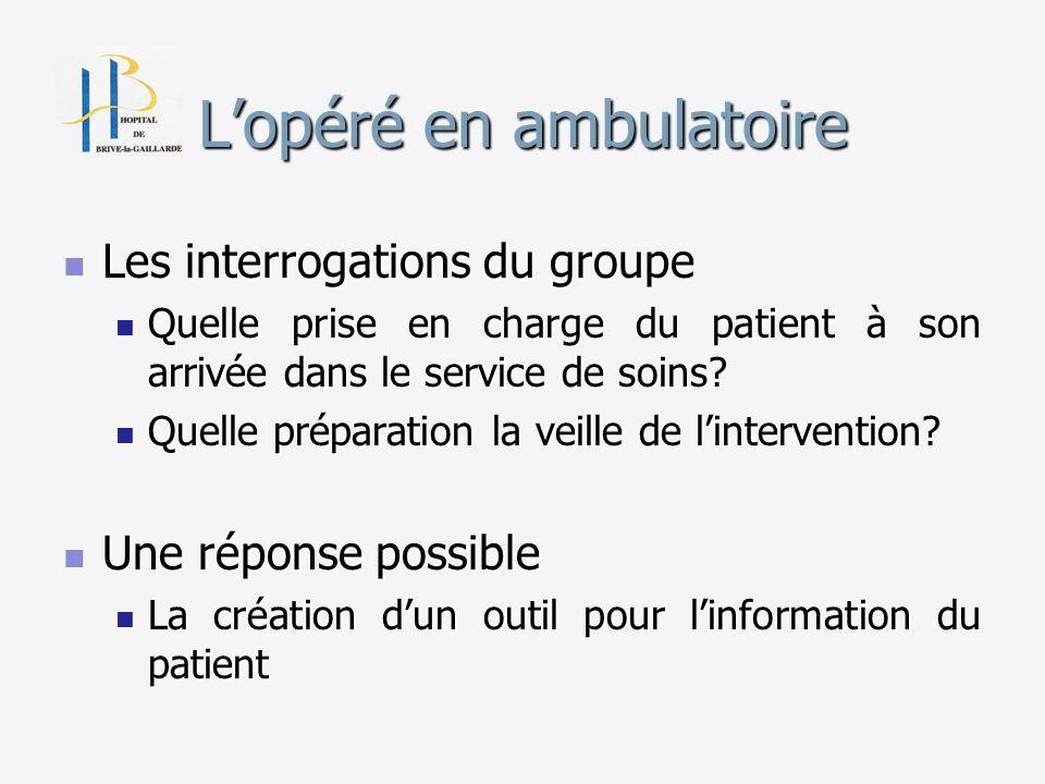 Lopéré en ambulatoire Les interrogations du groupe Les interrogations du groupe Quelle prise en charge du patient à son arrivée dans le service de soi