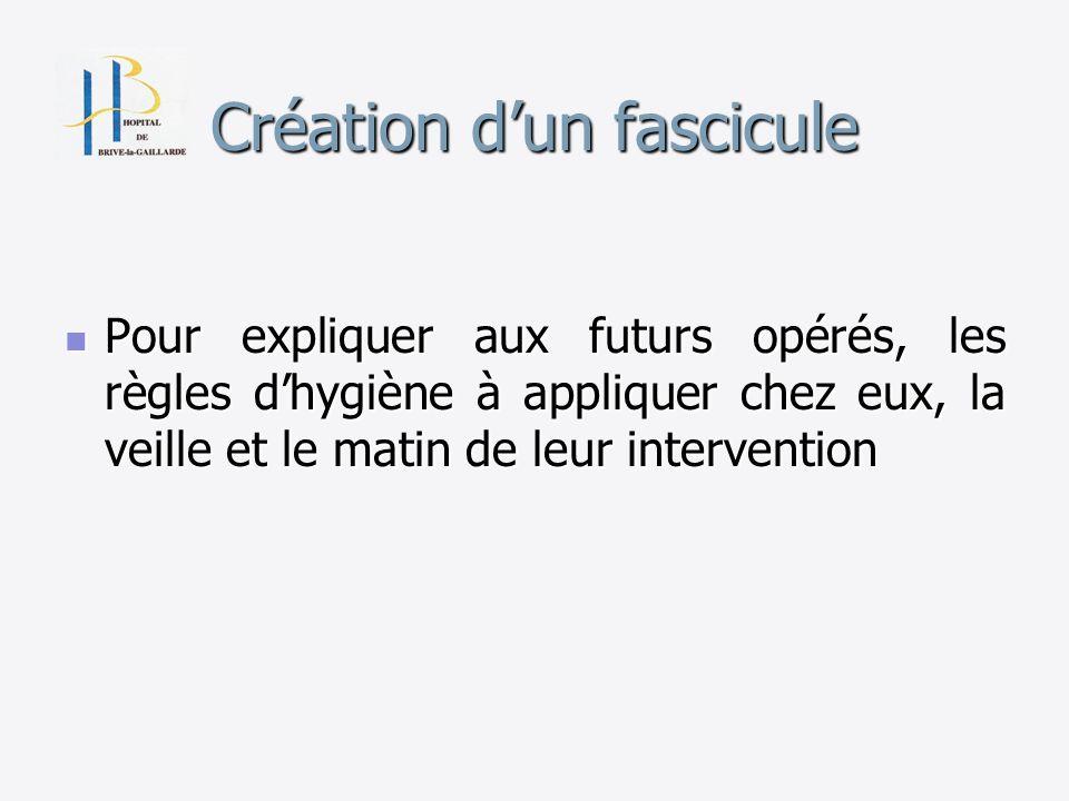 Création dun fascicule Pour expliquer aux futurs opérés, les règles dhygiène à appliquer chez eux, la veille et le matin de leur intervention Pour exp