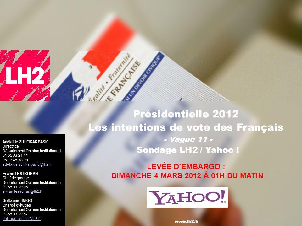 1 Présidentielle 2012 Les intentions de vote des Français - Vague 11 - Sondage LH2 / Yahoo .