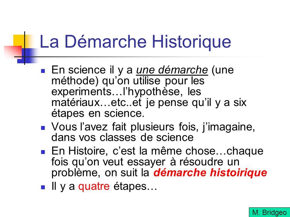 La Démarche Historique En science il y a une démarche (une méthode) quon utilise pour les experiments…lhypothèse, les matériaux…etc..et je pense quil y a six étapes en science.