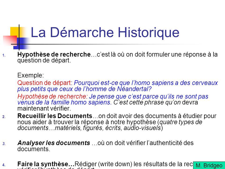 La Démarche Historique Hypothèse de recherche…cest là où on doit formuler une réponse à la question de départ.
