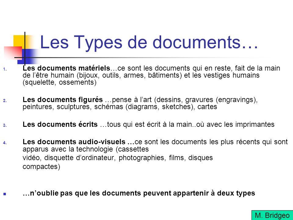 Les Types de documents… Les documents matériels…ce sont les documents qui en reste, fait de la main de lêtre humain (bijoux, outils, armes, bâtiments) et les vestiges humains (squelette, ossements) Les documents figurés …pense à lart (dessins, gravures (engravings), peintures, sculptures, schémas (diagrams, sketches), cartes Les documents écrits …tous qui est écrit à la main..où avec les imprimantes Les documents audio-visuels …ce sont les documents les plus récents qui sont apparus avec la technologie (cassettes vidéo, disquette dordinateur, photographies, films, disques compactes) …noublie pas que les documents peuvent appartenir à deux types M.