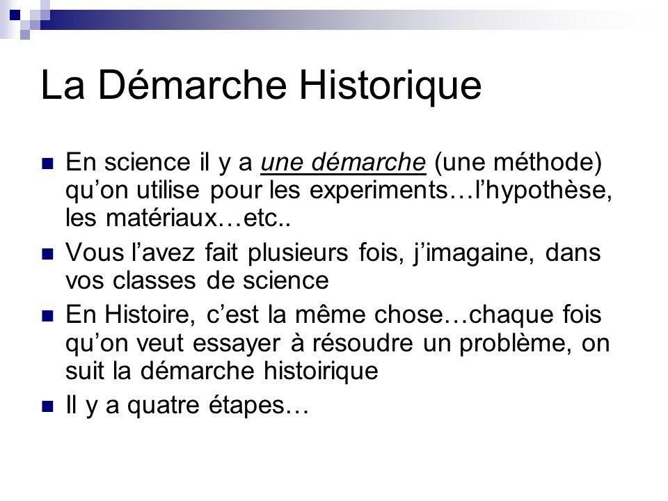 La Démarche Historique En science il y a une démarche (une méthode) quon utilise pour les experiments…lhypothèse, les matériaux…etc..