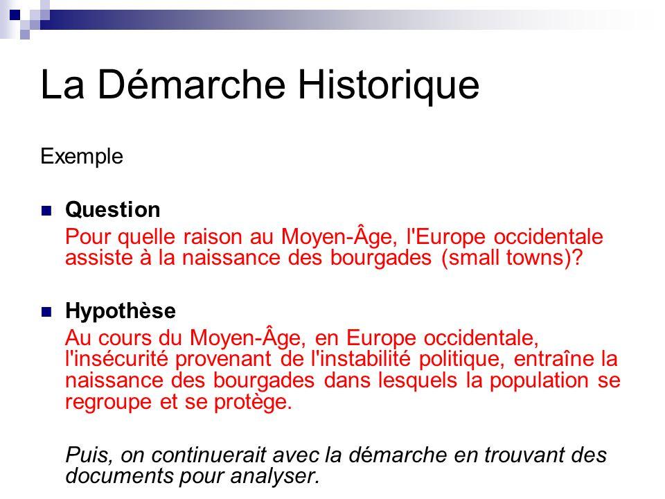 La Démarche Historique Exemple Question Pour quelle raison au Moyen-Âge, l Europe occidentale assiste à la naissance des bourgades (small towns).