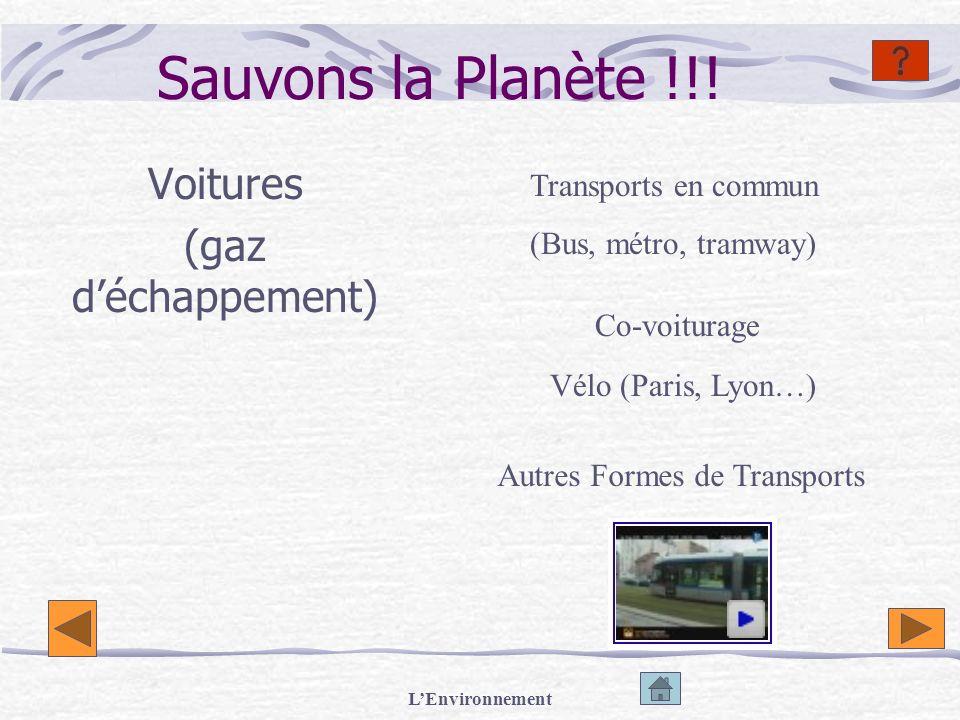 LEnvironnement Sauvons la Planète !!! Voitures (gaz déchappement) Transports en commun (Bus, métro, tramway) Co-voiturage Vélo (Paris, Lyon…) Autres F