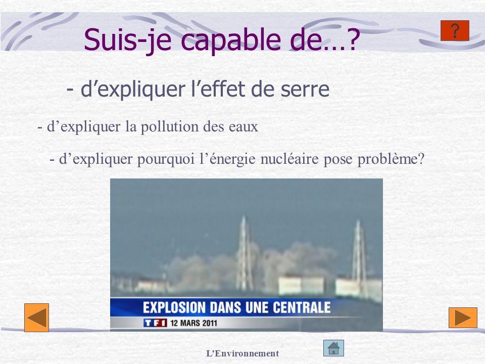 LEnvironnement Suis-je capable de…? - dexpliquer leffet de serre - dexpliquer la pollution des eaux - dexpliquer pourquoi lénergie nucléaire pose prob
