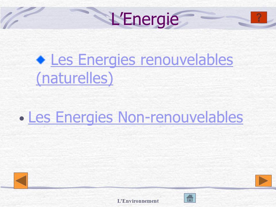 LEnvironnement Les Energies Renouvelables Lénergie éolienne Lenergie solaire Lénergie hydraulique (barrage) Lénergie des marémotrices Lénergie géothermique