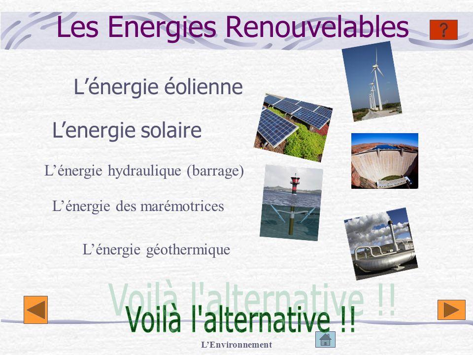 LEnvironnement Les Energies Renouvelables Lénergie éolienne Lenergie solaire Lénergie hydraulique (barrage) Lénergie des marémotrices Lénergie géother