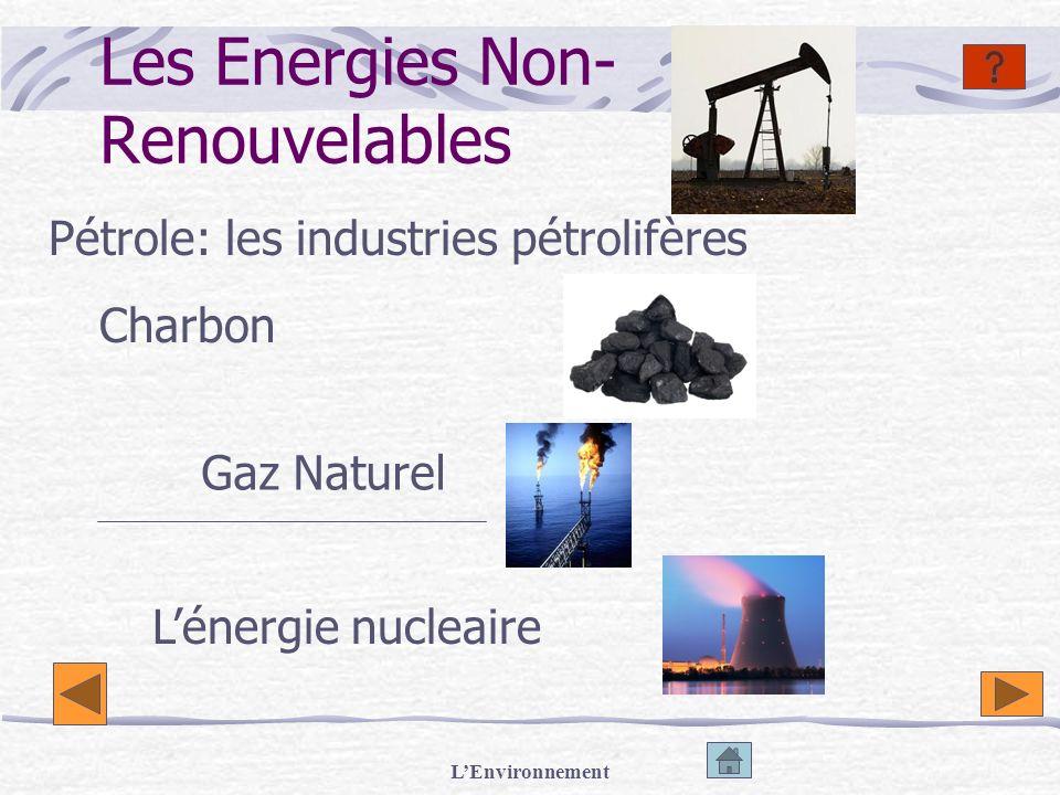 LEnvironnement Les Energies Non- Renouvelables Pétrole: les industries pétrolifères Lénergie nucleaire Charbon Gaz Naturel