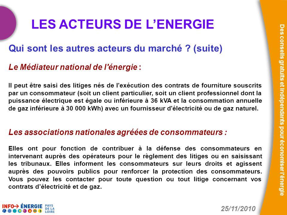 25/11/2010 Des conseils gratuits et indépendants pour économiser l'énergie Qui sont les autres acteurs du marché ? (suite) Le Médiateur national de l'