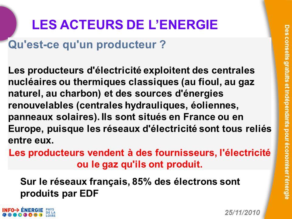 25/11/2010 Des conseils gratuits et indépendants pour économiser l'énergie Qu'est-ce qu'un producteur ? Les producteurs d'électricité exploitent des c