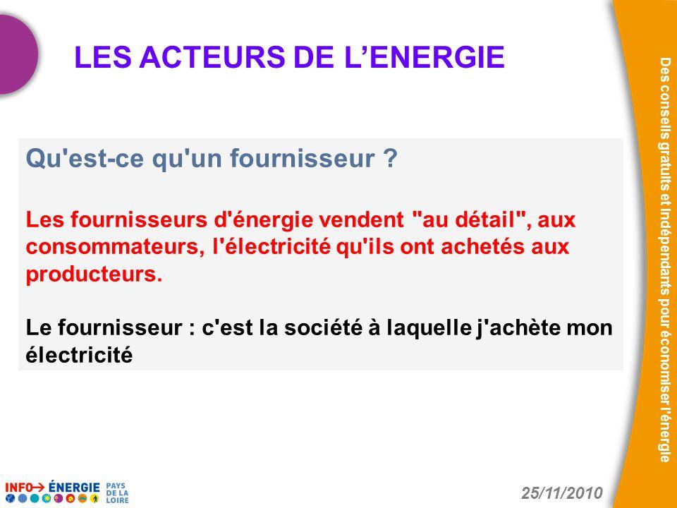 25/11/2010 Des conseils gratuits et indépendants pour économiser l énergie LE SYSTEME ELECTRIQUE VENDEEN