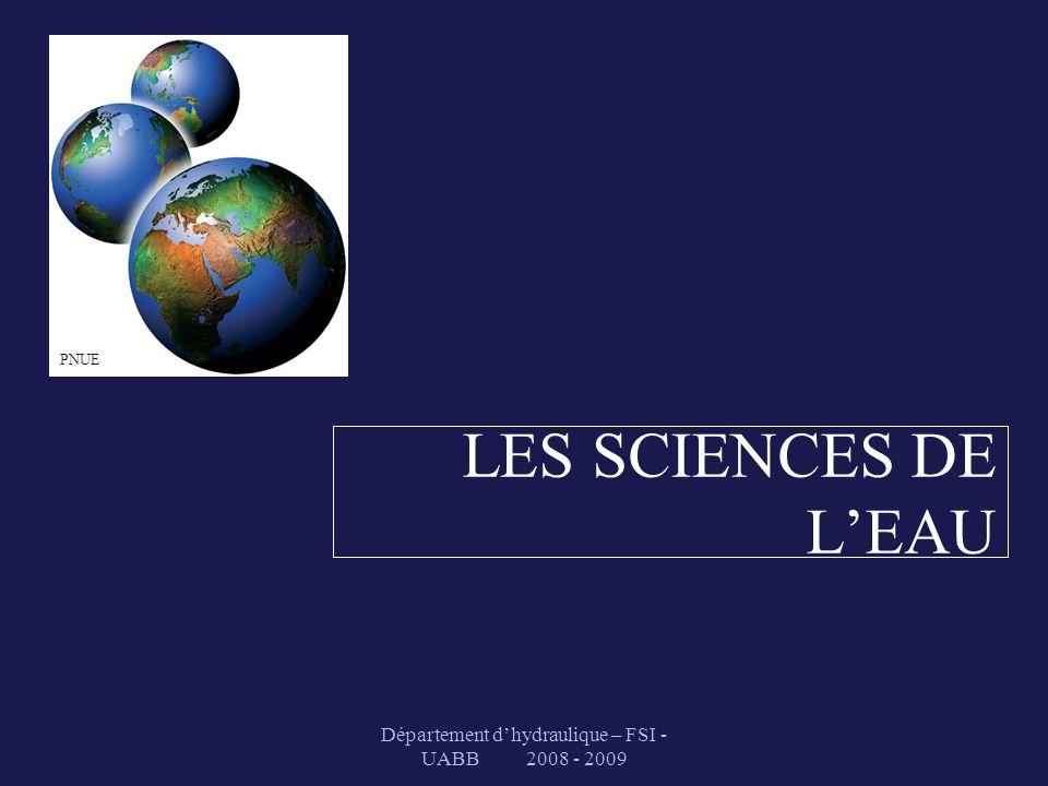 Département dhydraulique – FSI - UABB 2008 - 2009 Atmosphère : 13 000 Océan : 1 350 000 000 Aquifères souterrains : 8 400 000 II.3- Le cycle de l eau : stocks en km 3 Glacier :27 500 000 Lacs et rivières : 200 000